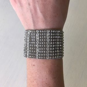 Jewelry - Silver Bling Sparkle Crystal & Stud Cuff Bracelet